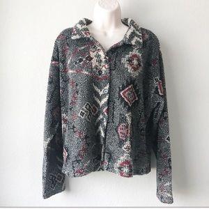 True Grit Southwest Fleece Button Sweater Cardigan